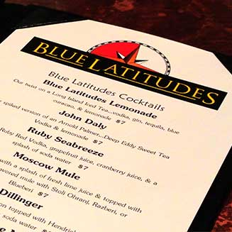 Blue Latitudes menu paper